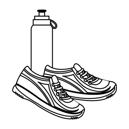 bottle gym sport with tennis vector illustration design