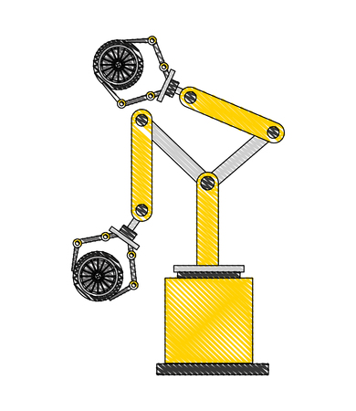 robot arm for automotive engineering with car wheel vector illustration Çizim