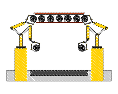 assembly line tires automatic auto production conveyor robotic vector illustration Ilustracja