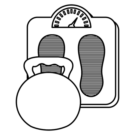 dumbell gym accessory with scale balance vector illustration design Illustration