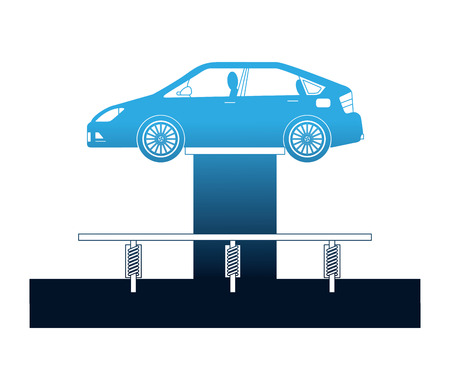 car at hydraulic lifting platform inspection and maintenance vector illustration Stock Illustratie