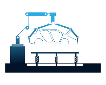 body of car on the assembly line the conveyor at the factory vector illustration Ilustração