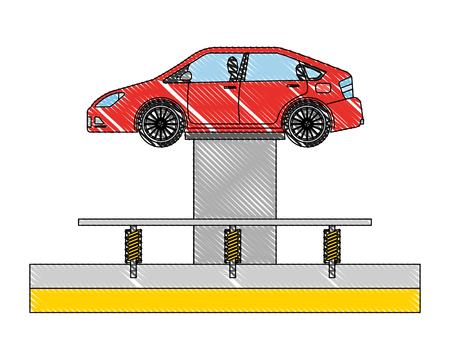 voiture à l & # 39; inspection de la plate-forme de levage hydraulique et illustration vectorielle de maintenance Vecteurs