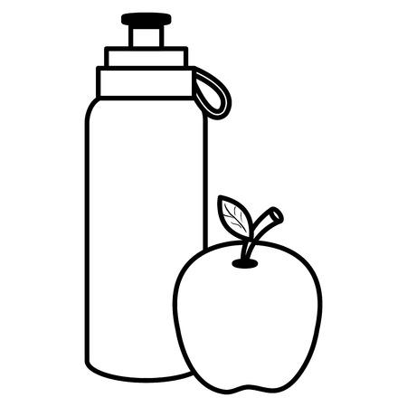 bottle gym with apple vector illustration design  イラスト・ベクター素材