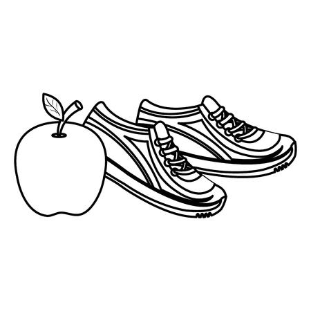 apple fresh fruit with tennis shoes vector illustration design Illusztráció