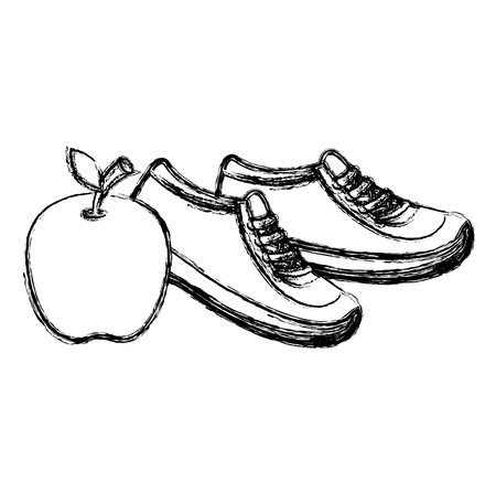 apple fresh fruit with tennis shoes vector illustration design  イラスト・ベクター素材