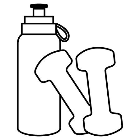 Botella de gimnasio con mancuernas, diseño de ilustraciones vectoriales