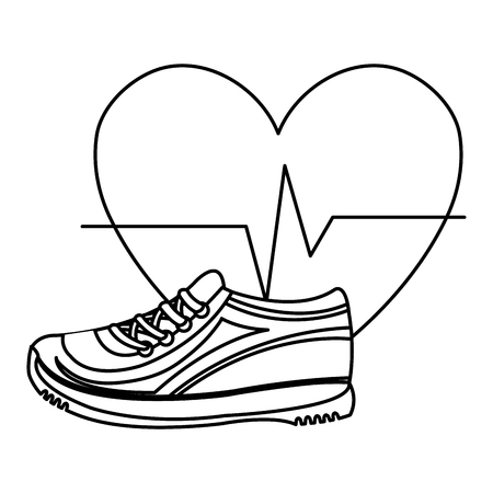 heart cardio with tennis shoes vector illustration design Illustration