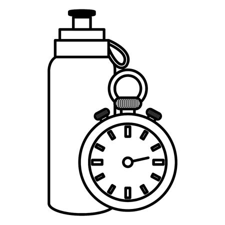 bottle gym with chronometer vector illustration design  イラスト・ベクター素材