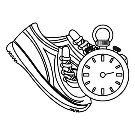 timer chronometer with tennis shoes vector illustration design Stock Vector - 112070877