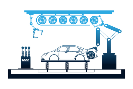car production plant process step tires assembly vector illustration