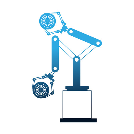 robot arm for automotive engineering with car wheel vector illustration
