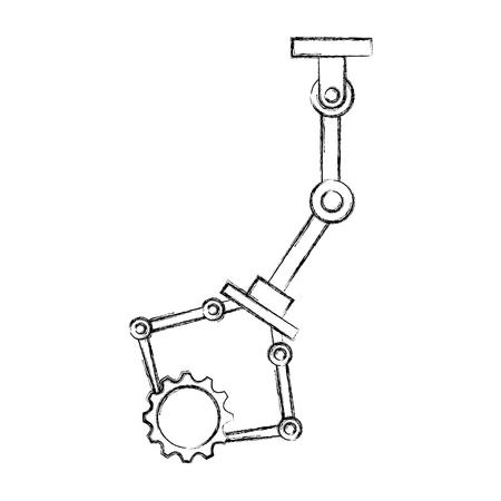 robotic arm holding gear mechanic technology vector illustration