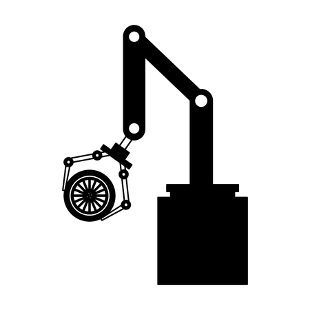 robot arm for automotive engineering with car wheel vector illustration Vettoriali