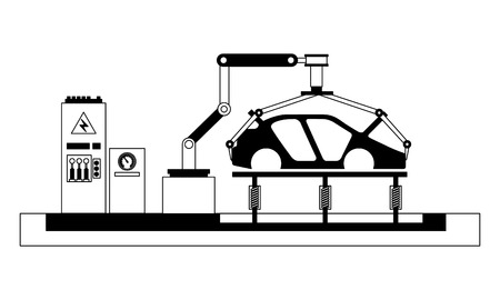 body of car on the assembly line the conveyor at the factory vector illustration Banque d'images - 112070899