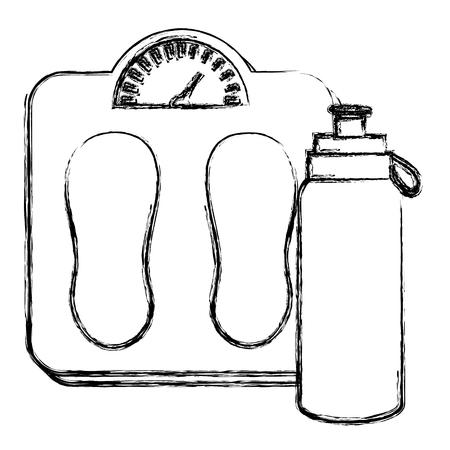 bottle gym with balance vector illustration design