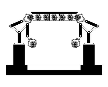 assembly line tires automatic auto production conveyor robotic vector illustration Çizim