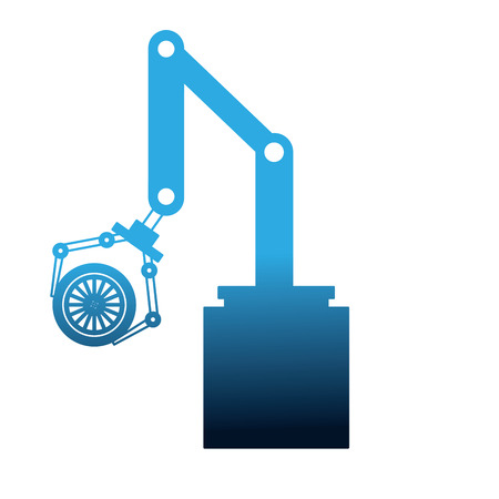 robot arm for automotive engineering with car wheel vector illustration Illustration