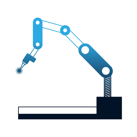 ilustracja wektorowa technologii mechanicznego manipulatora przemysłowego ramienia robota