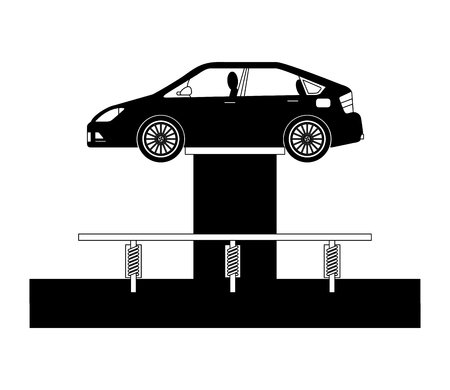 car at hydraulic lifting platform inspection and maintenance vector illustration Çizim
