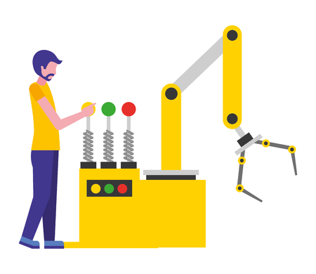 Bediener mit Roboterhandmaschine Symbol Vektor Illustration Design