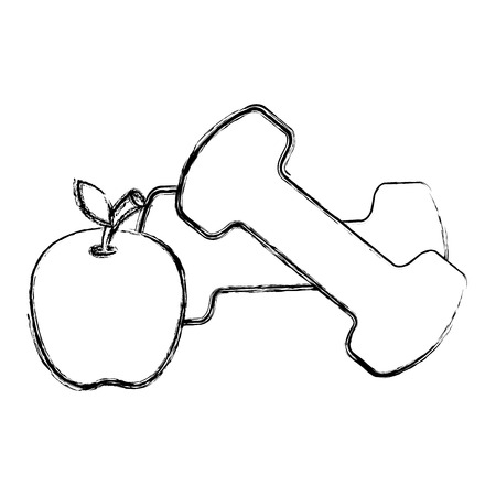 dumbell gym accessory with apple vector illustration design Illustration