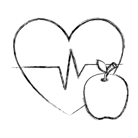 heart cardio with apple vector illustration design Illustration