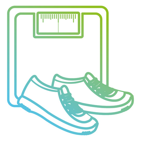 scale balance gym with tennis shoes vector illustration design