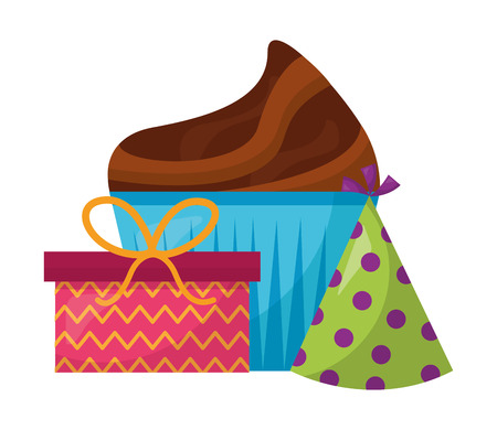 sweet cupcake with gift box present and hat party vector illustration design Ilustração