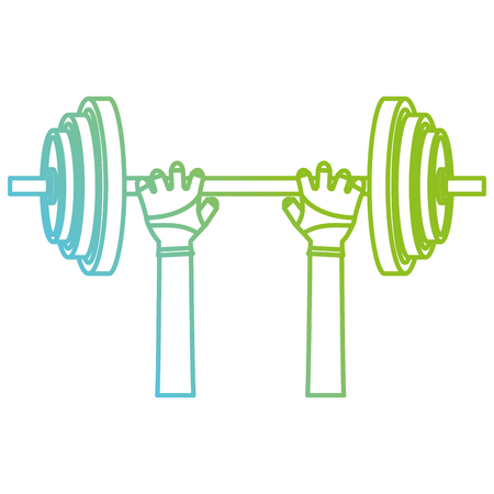 hands lifting dumbell gym accessory vector illustration design Vectores
