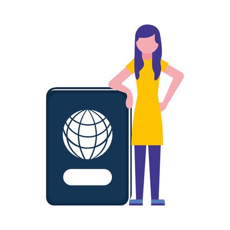 giovane donna con il disegno dell'illustrazione di vettore del documento del passaporto