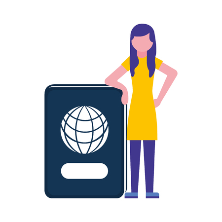 young woman with passport document vector illustration design