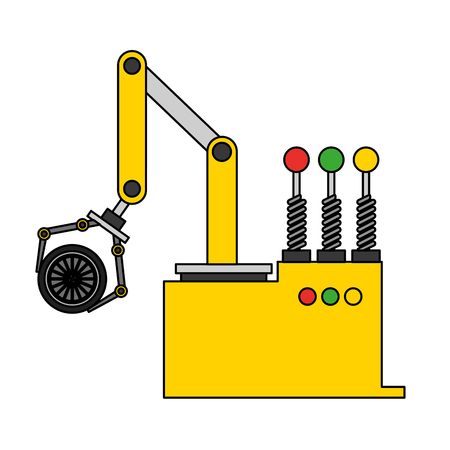 robotic hand machine with tire vector illustration design