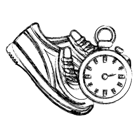 timer chronometer with tennis shoes vector illustration design