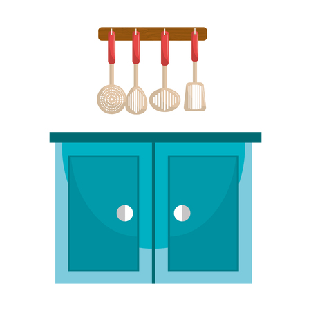 kitchen drawer wooden with utensils hanging vector illustration design