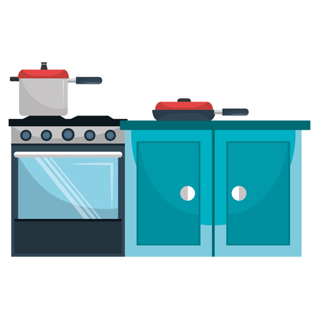 kitchen oven with pot and drawer vector illustration design Archivio Fotografico - 112070981