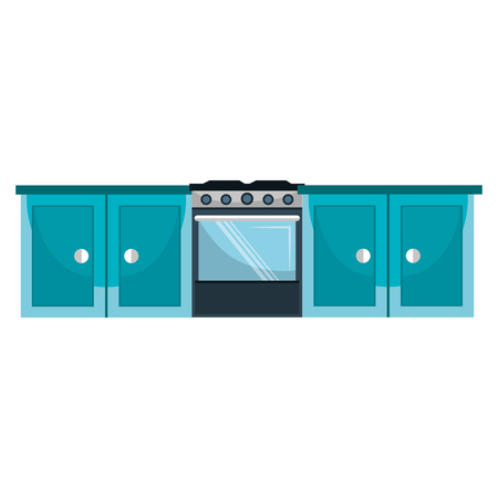 kitchen oven with drawers vector illustration design