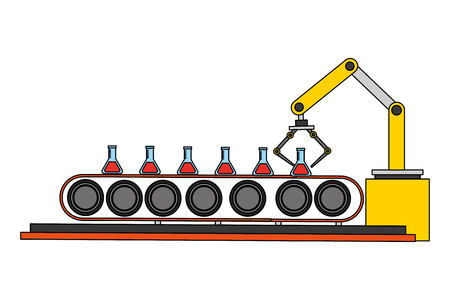 robotic hand machine with tube test vector illustration design Illusztráció