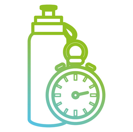 bottle gym with chronometer vector illustration design Çizim