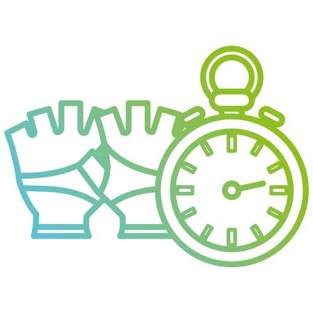 timer chronometer with gloves sport vector illustration design Stock Vector - 112071008