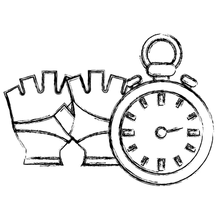 timer chronometer with gloves sport vector illustration design