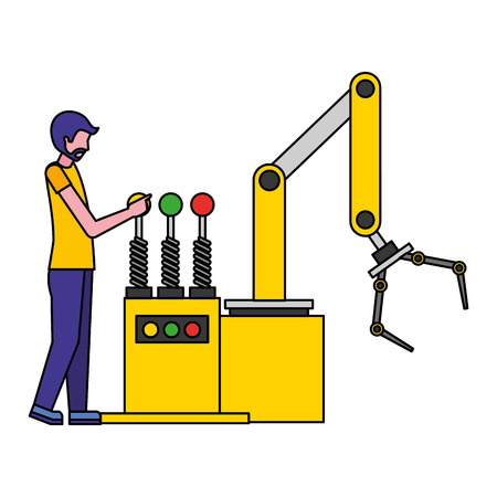 operator with robotic hand machine icon vector illustration design Ilustrace