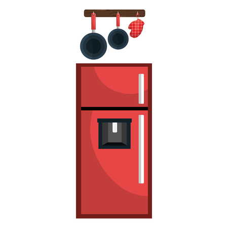 kitchen fridge with utensils hanging vector illustration design 向量圖像