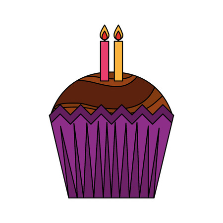 sweet cupcake with candles isolated icon vector illustration design Çizim