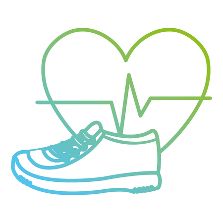 heart cardio with tennis shoes vector illustration design Banque d'images - 112071032