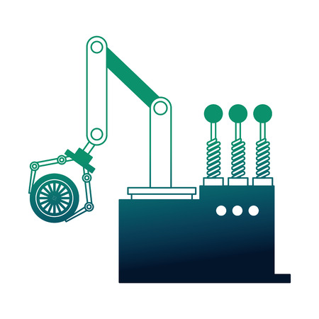 robotic hand machine with tire vector illustration design