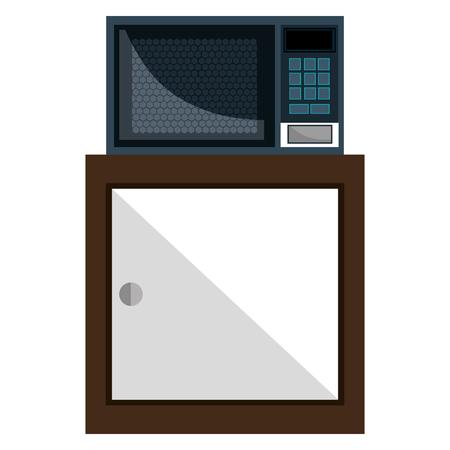 Cajón de cocina de madera con horno microondas, diseño de ilustraciones vectoriales