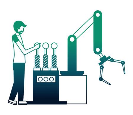 operator with robotic hand machine icon vector illustration design
