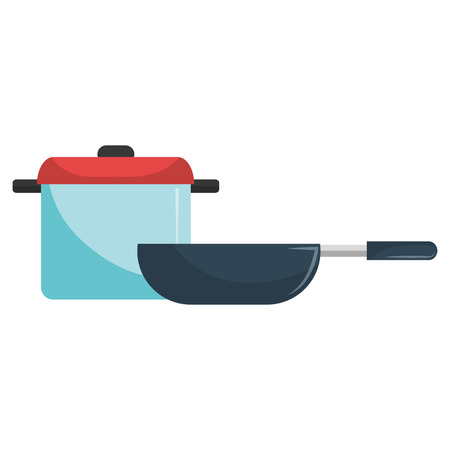 kitchen pot and pan utensils vector illustration design 일러스트