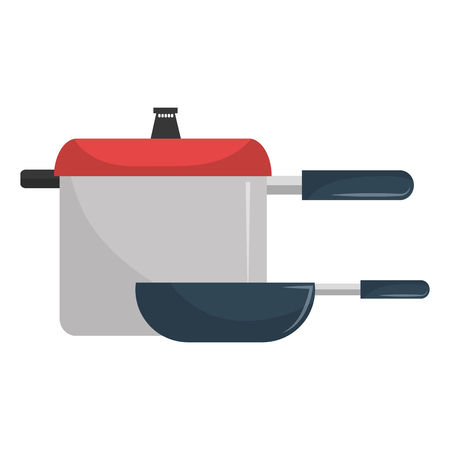 kitchen pot and pan utensils vector illustration design Çizim